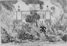 """""""The Age of Reason"""" Satirisk tegning af George Cruikshank fra 1819."""