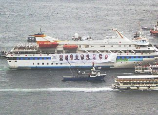 MS Mavi Marmara making a tour of Istanbul harbour on the occasion of her return to Istanbul, December 26, 2010. Foto: Hevesli.
