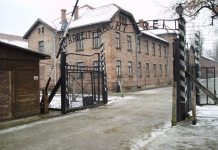 "The ""Arbeit macht frei"" sign at the main gate of the Auschwitz I concentration camp in German-occupied Poland. 27 November 2005. Source: Flickr. Foto: Tulio Bertorini (tbertor1) (CC BY-SA 2.0)"