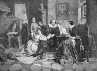 Illustration of William Shakespeare reciting his play Hamlet to his family. His wife, Anne Hathaway, is sitting in the chair on the right; his son Hamnet is behind him on the left; his two daughters Susanna and Judith are on the right and left of him. (Hamnet&Judith are twins), circa 1890. Photo of Engraving by unknown German artist. Public Domain Mark 1.0.