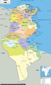 Kort over Tunis