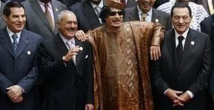 """""""The Ratpack of Dictators"""". Så glade var de: Yemens præsident Saleh sammen med Gaddafi og Mubarak."""