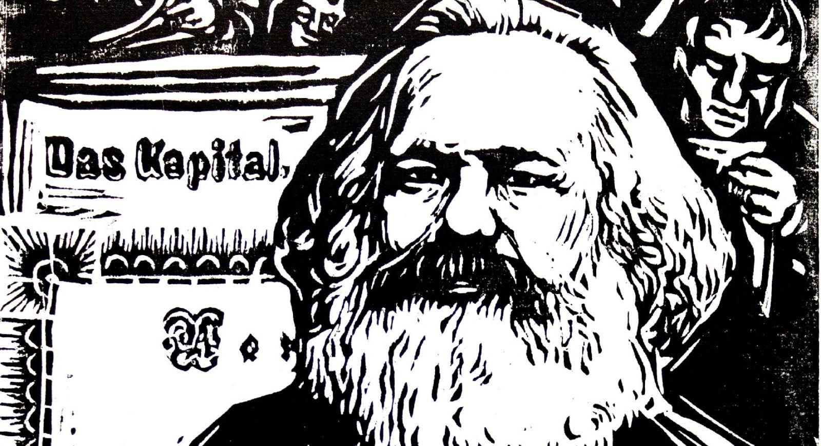 Grafik med Karl Marx og Kapitalen.