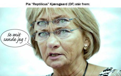 """Pia """"Reptilicus"""" Kjærsgaard står frem. Illustration: Drumstick"""