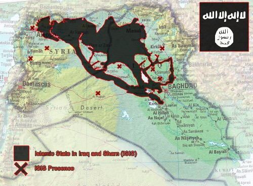 ISIS Islamic state Iraq Sham new map June 2014. Latest map (Source: LiveLeak)
