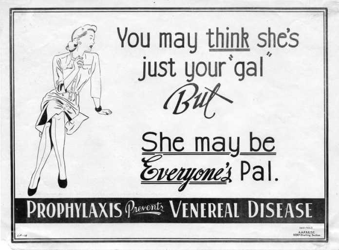 Advarsel til amerikanske soldater under Anden Verdenskrig om prostitution med trussel om veneriske sygdommes spredning.