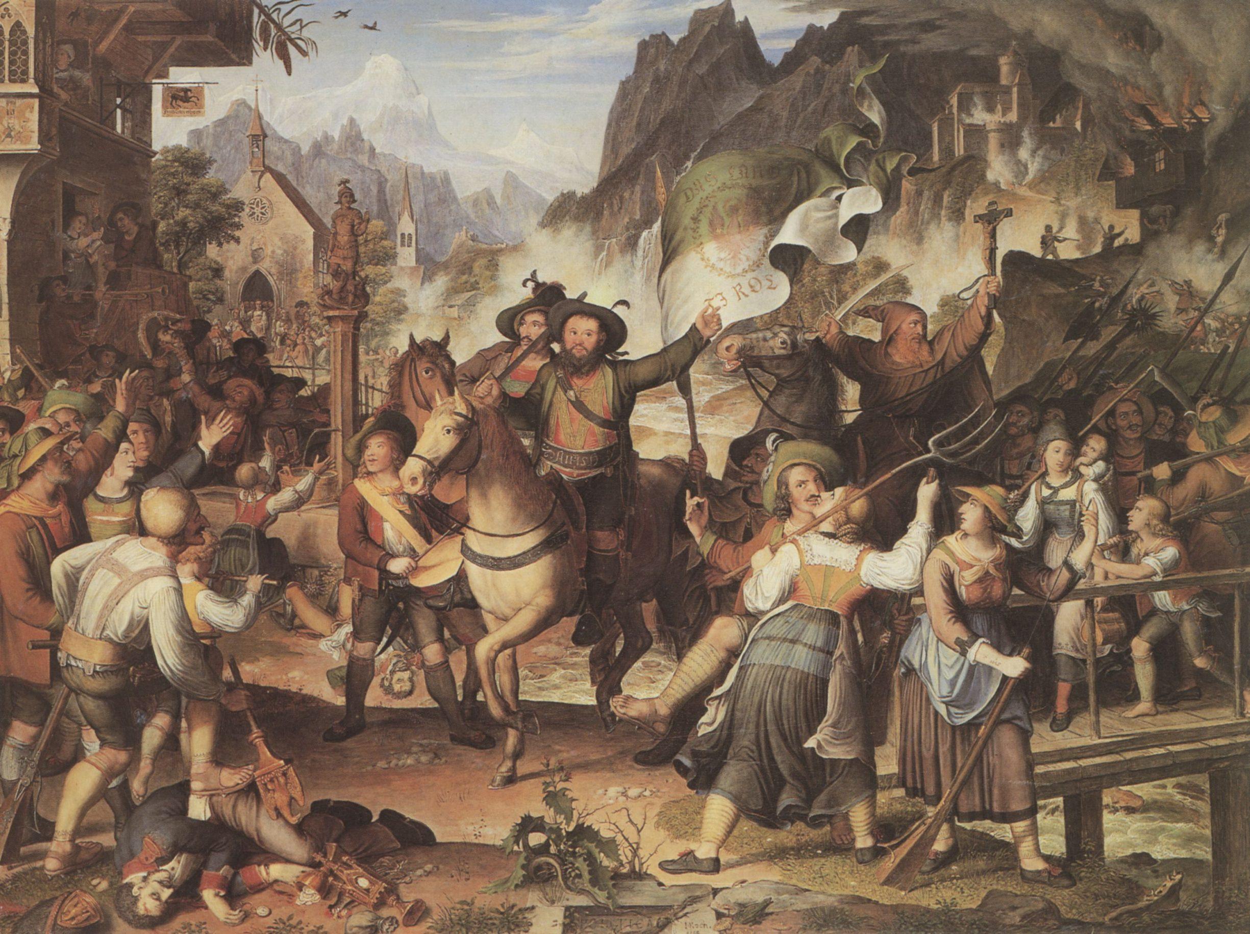 Tiroler Landsturm 1809 oliemaleri af Joseph Anton Koch (1768–1839) circa 1820. Scene fra det tyrolske bondeoprør ledet af Andrea Hofer mod Fransk besættelse. Public Domain.