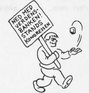 """Tegning af Madsen fra Kommunistisk Ungdomsforbund KUFs pjece """"Om Verdensbanken""""."""