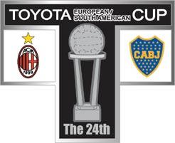 トヨタカップ 第24回ACミラン対ボカジュニアーズ T字型ピンバッジ