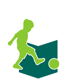 Icon of a child kicking a soccer ball. Link to soccer practice book for U4 to U8.