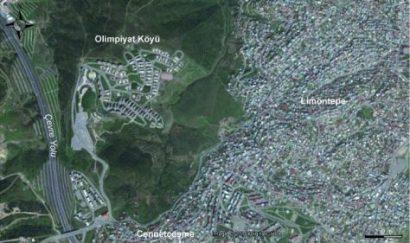 Vue aérienne du quartier du village olympique (Olimpiyat Köyü) Source : Google Earth, consulté le 17 mai 2016
