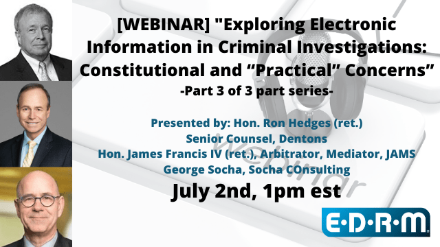 Exploring Electronic Information in Criminal Investigations Part 3/3