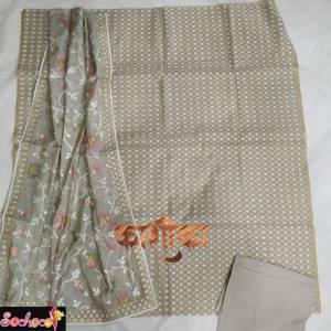 digital printed Suit piece fabric set in grey shade