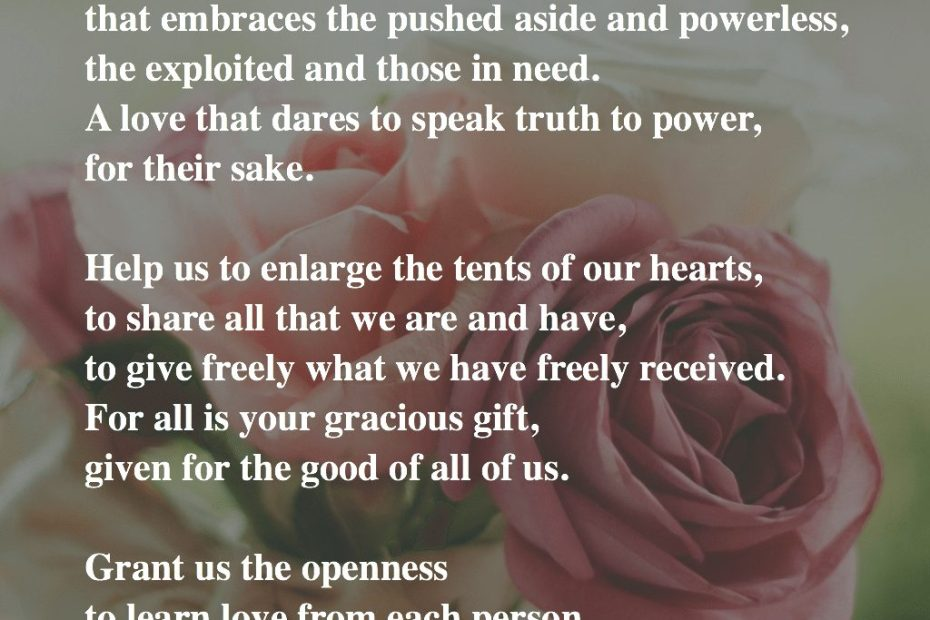 Text of the Valentine's Day prayer with background photo of roses