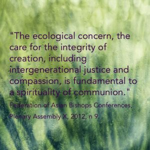 """""""The ecological concern, the care for the integrity of creation, including intergenerational justice and compassion, is fundamental to a spirituality of communion."""" Federation of Asian Bishops Conferences, Plenary Assembly X, 2012, n 9."""