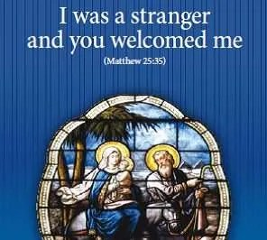 stained glass image of the flight into Egypt