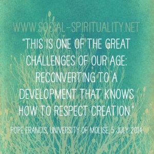 """""""This is one of the great challenges of our age: reconverting to a development that knows how to respect creation."""" Pope Francis, University of Molise, 5 July 2014."""