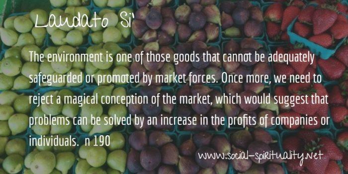 "Laudato Si' Week quote ""The environment is one of those goods that cannot be adequately safeguarded or promoted by market forces. Once more, we need to reject a magical conception of the market, which would suggest that problems can be solved by an increase in the profits of companies or individuals."" n 190"