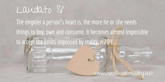 "Laudato Si' Week quote ""The emptier a person's heart is, the more he or she nees things to buy, own and consume. It becomes almost impossible to accept the limits imposed by reality."" n 2014"
