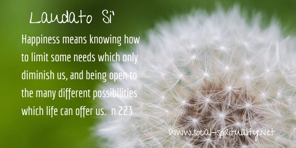 "Laudato Si' Week quote ""Happiness means knowing how to limit some needs which only diminish us, and being open to the many different possibilities which life can offer us."" n 223"