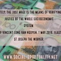 """Photo of Australian one hundred dollar bills with text superimposed. """"Ultimately, the just wage is the means of verifying the justice of the whole socioeconomic system."""" Bishop Vincent Long van Nguyen, 1 May 2018, Feast of St Joseph the Worker."""