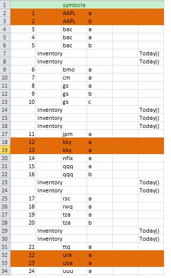 excel through column to detect duplicate values in sequence