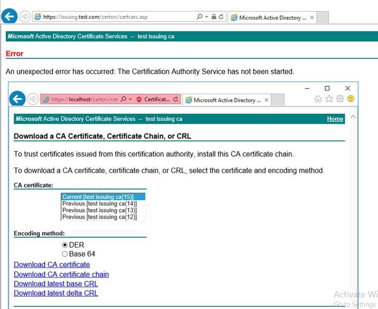 Certification Authority Web Enrollment Error An Unexpected