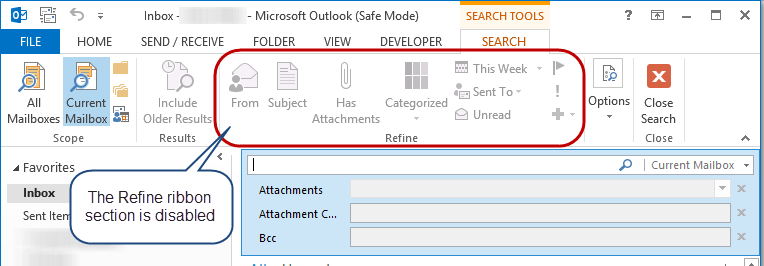 Search Refine Toolbar Disabled