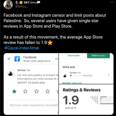 Pro-Palestinian Activists Trash Facebook Ratings in the App Store and Play Store with 1-Star Reviews
