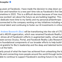 Facebook's Chief Technology Officer is Stepping Down After 13 Years