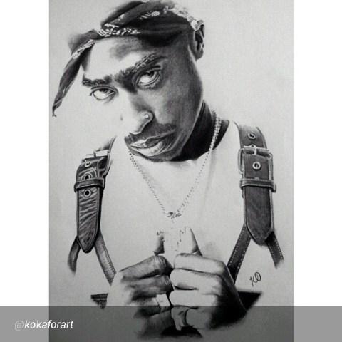 Portrait of Tupac by Artist Kelvin Okafor