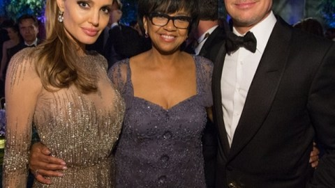 Angelina Jolie, Cheryl Boone Isaacs, and Brad Pitt at the Governors Ball