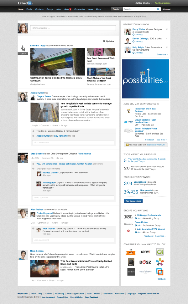 LinkedIn launches new homepage design