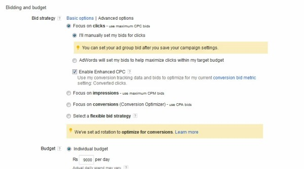 Set your bidding strategy for gmail ads