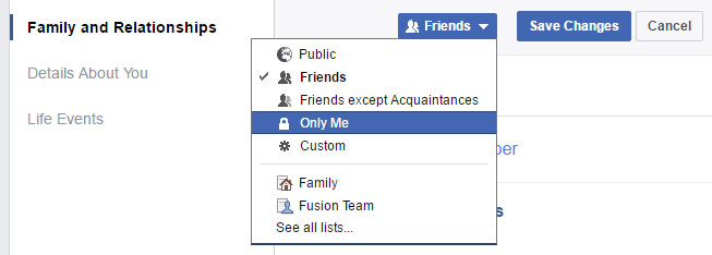 facebook relationships privacy