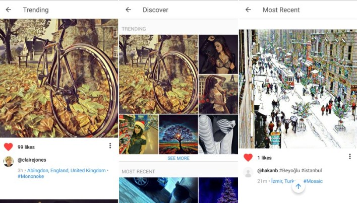Prisma feed most recent discover
