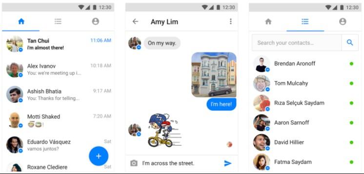 Messenger Lite screens