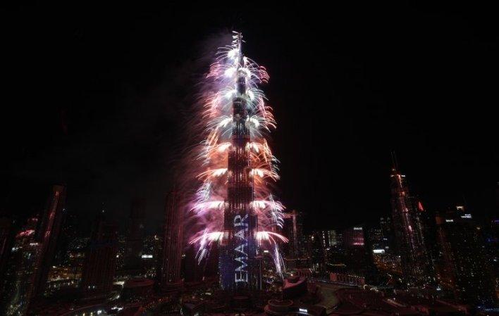 Fireworks at the Burj Khalifa, Dubai