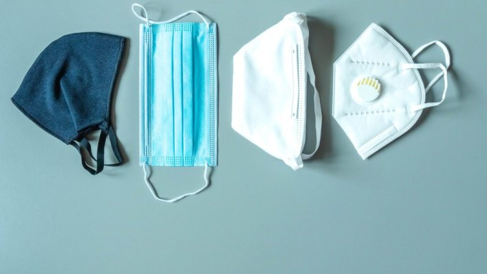 Several types of face masks. ranging from home made to surgical