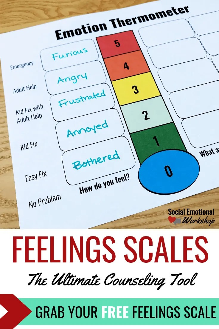 Feelings thermometers or feelings scales are the ultimate counseling tool. Using feelings thermometers as part of your counseling activities helps students better understand big and small emotions, choose effective strategies, and predict their feelings.