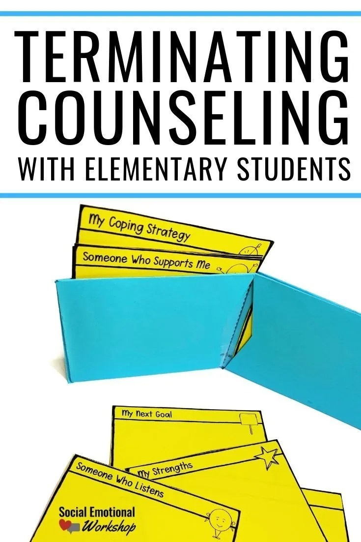 Counseling Termination Activities and Ideas for school counseling. Support elementary students by preparing them to handle situations on their own, feel proud of their counseling progress, and feel positive about their counseling experience.