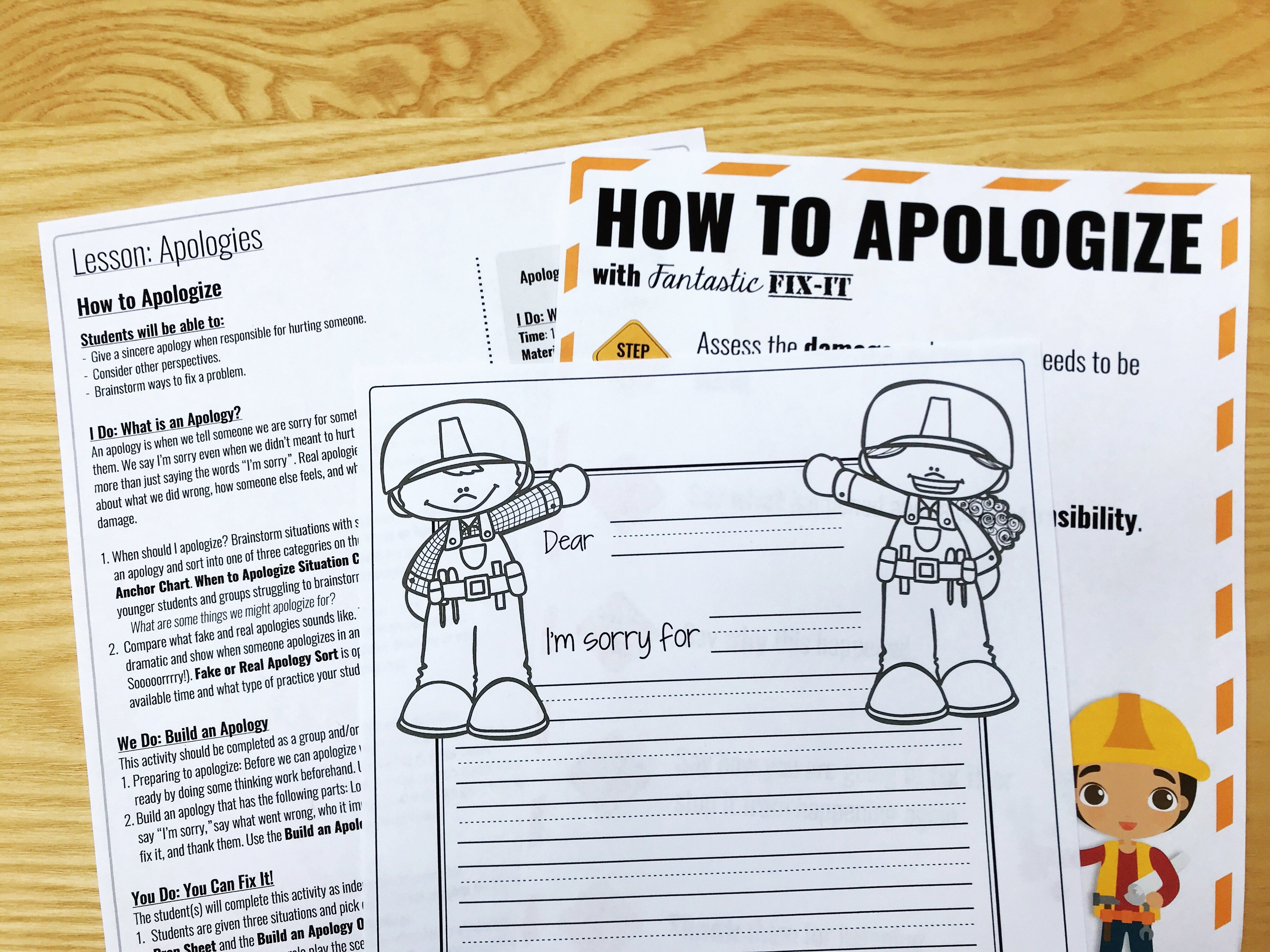 teach students how to say sorry.