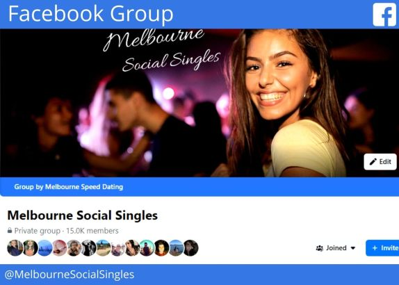 picture of beautiful woman on header image of melbourne social singles facebook group with 15k members @melbournesocialsingles with blue Facebook logo