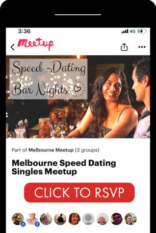 black iphone with couple speed dating on Melbourne singles meetup app with click to rsvp button