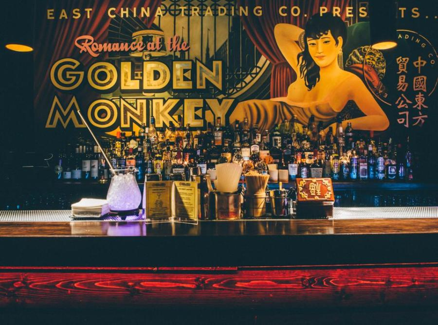 golden monkey east china trading co basement bar with cocktails and drinks