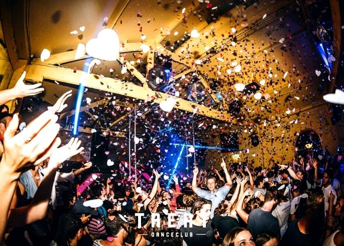 Treat club full dance party with confetti at the bottom end little collins street