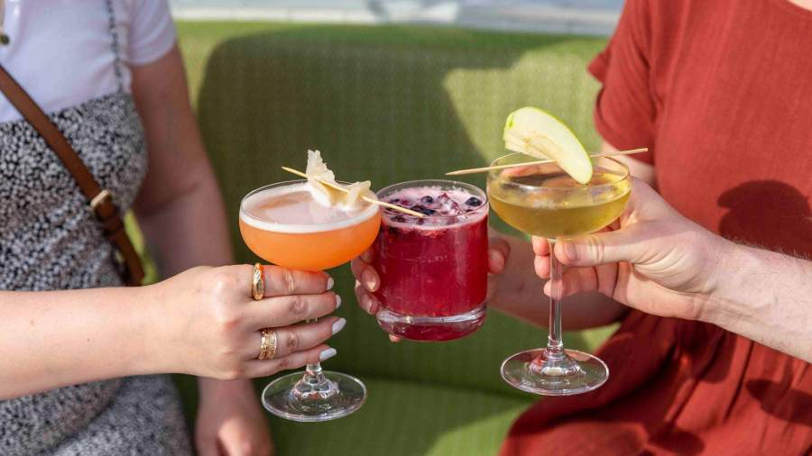 three people toasting fruit cocktails with apple and orange