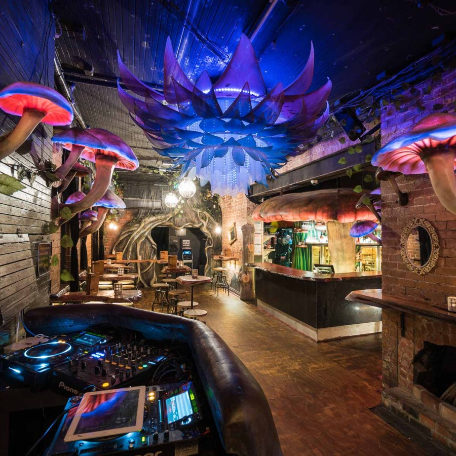 fairy tale bar setup themed after alice in wonder land decor of storyville in Melbourne australia