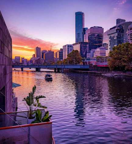 small boat on yarra river