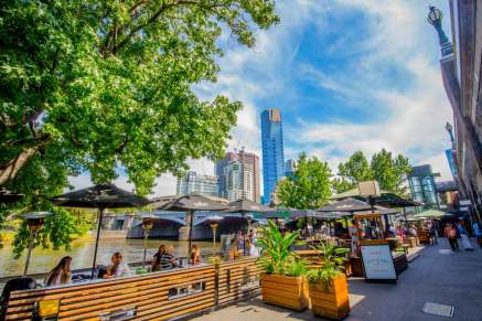 view of princess bridge and Southbank CBD from riverland beer garden on yarra river